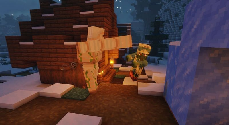 Shown: A Zombie Villager being slain by an Iron Golem (Image via Minecraft)