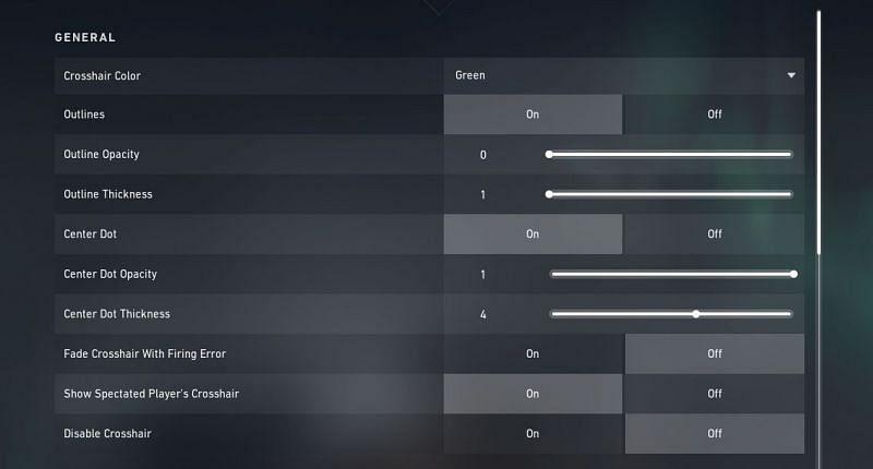 General crosshair settings (Screengrabbed from Valorant)