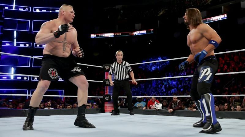 Brock Lesnar defeated AJ Styles in a Champion vs. Champion match in 2017