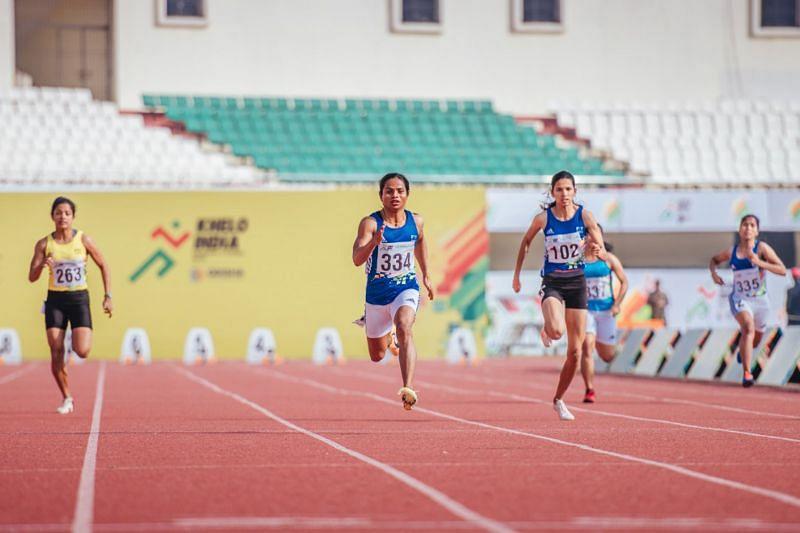 Dutee Chand (C) is hopeful of making the Tokyo Olympics cut. (Source: Bikash Nayak/Special Arrangement)