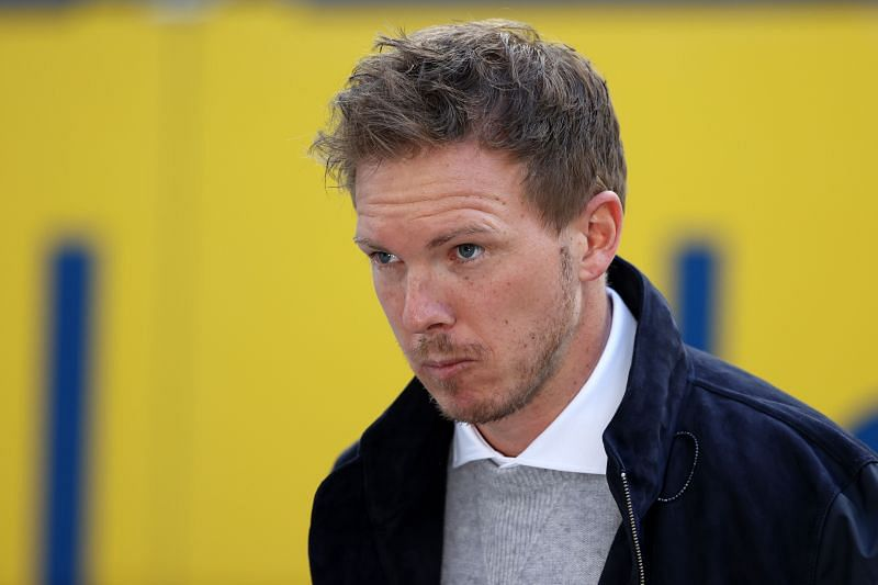 RB Leipzig manager Julian Nagelsmann arrives at the ground ahead of the fixture.