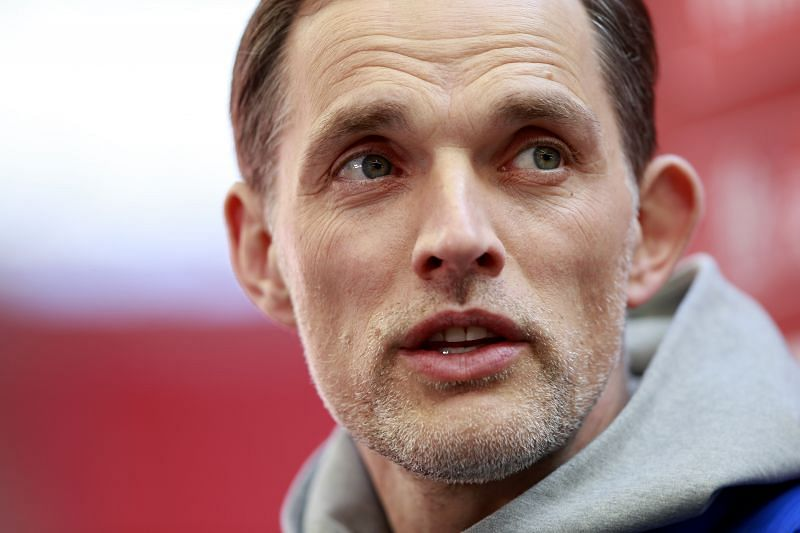 Thomas Tuchel watches on during Manchester City v Chelsea: Emirates FA Cup Semi Final