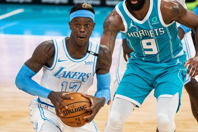 Dennis Schroder #17 of the Los Angeles Lakers, in action.