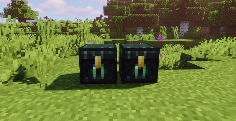 Shown: Two Ender Chests and their particles (Image via Minecraft)
