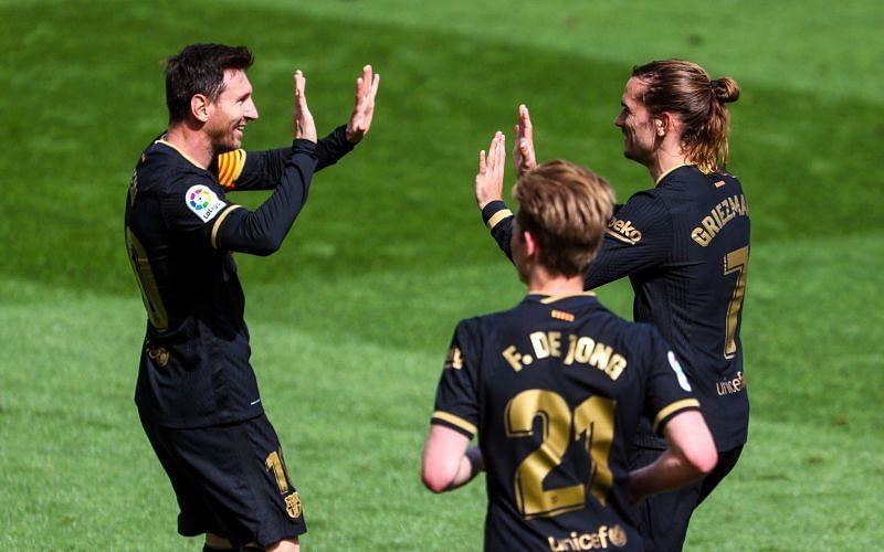 Antione Griezmann scored twice as Barcelona beat Villarreal