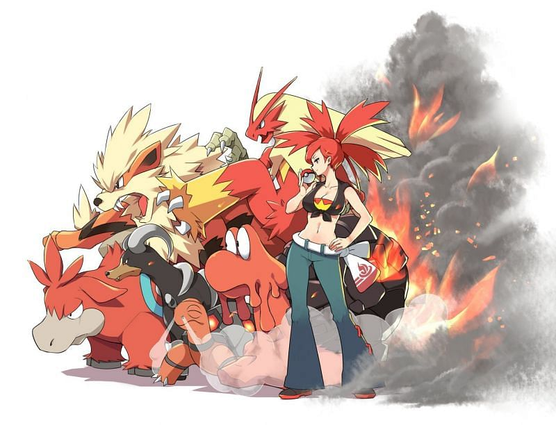 Flannery and Fire-type Pokemon (Image via アスナ on Pixiv)