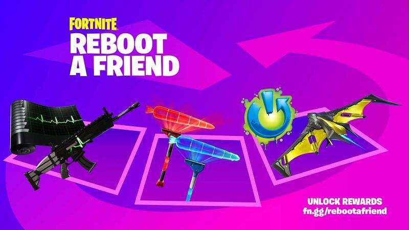 Invite friends and earn rewards from the Fortnite Reboot-A-Friend event (Image via Fortnite, Epic Games)