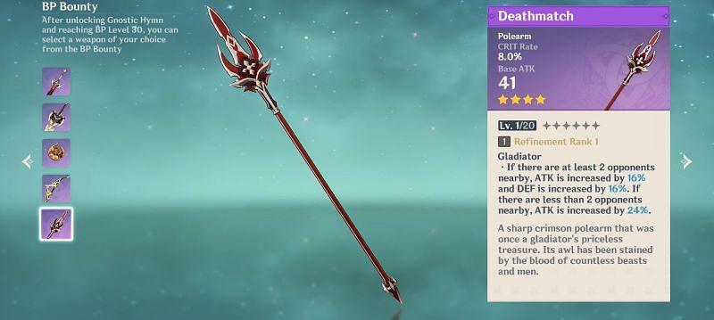 Genshin Impact Battle Pass reward: Deathmatch