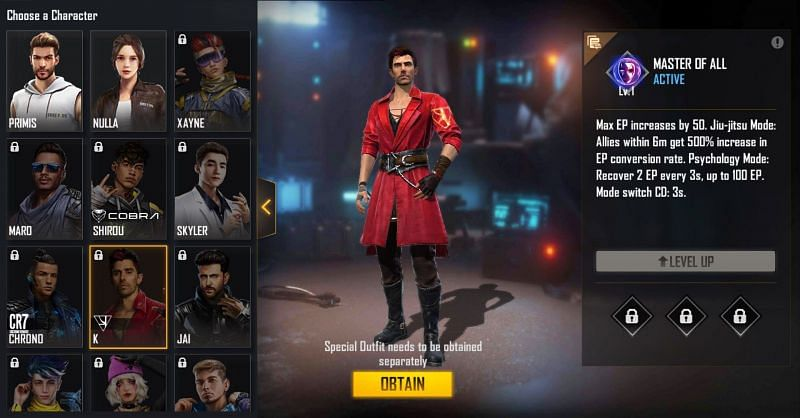 K character in Free Fire