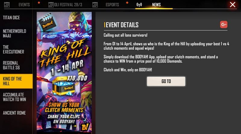 King of the Hill event in Free Fire