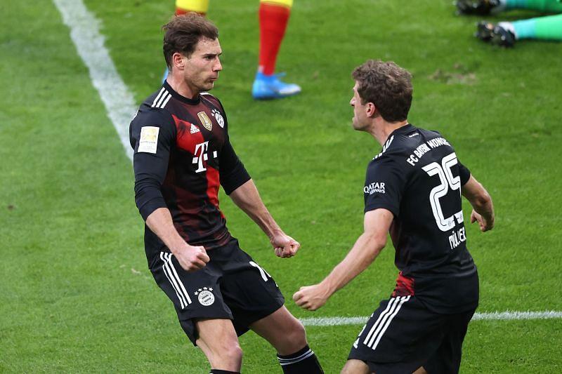 Leon Goretzka celebrates his goal with Thomas Muller.