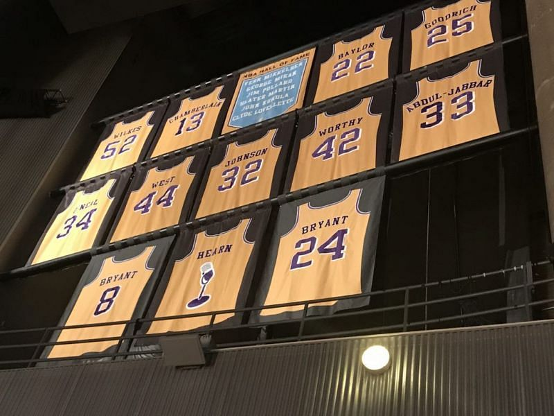 LA Lakers - Retired Jerseys in the rafters of Staples Center.