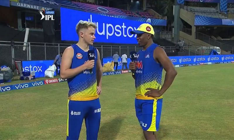 Sam Curran and Dwayne Bravo were in good spirits after CSK