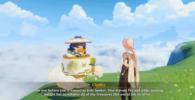 The Traveler speaking with Chubby the Teapot Traveling Salesman in Genshin Impact (image via miHoYo)
