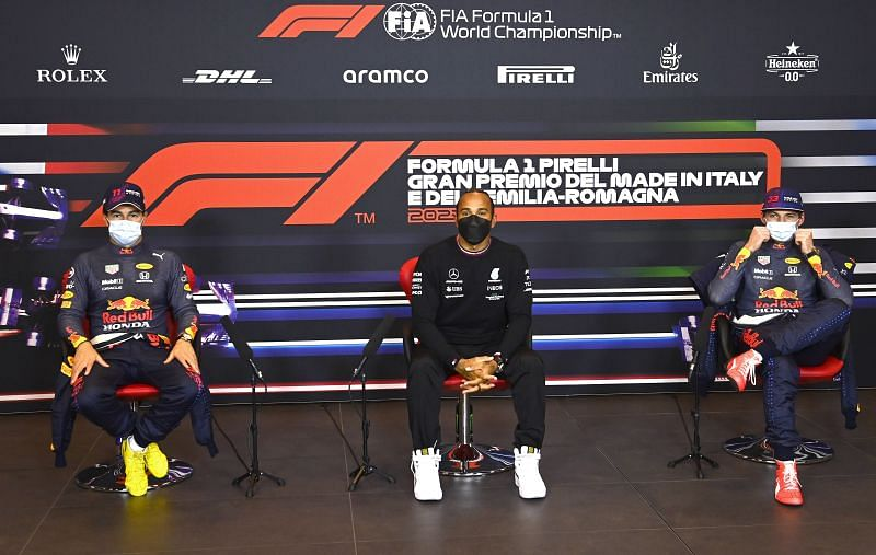 Imola GP pole-winner Lewis Hamilton, flanked by Sergio Perez (L) and Max Verstappen (R) (Photo by Mark Sutton - Pool/Getty Images)