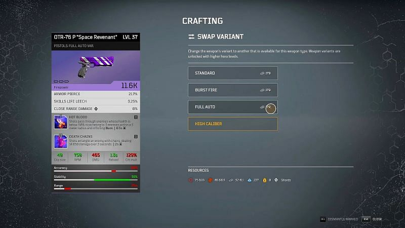 Outriders crafting guide: Swap Variant