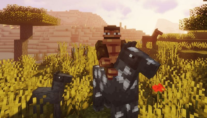 Shown: A Monke attempting to tame a horse (Image via Minecraft)