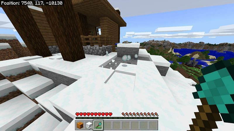 Snow blocks will most likely have to be crafted, if you have a silk touch tool, you can break any snow with it to collect the block of snow.