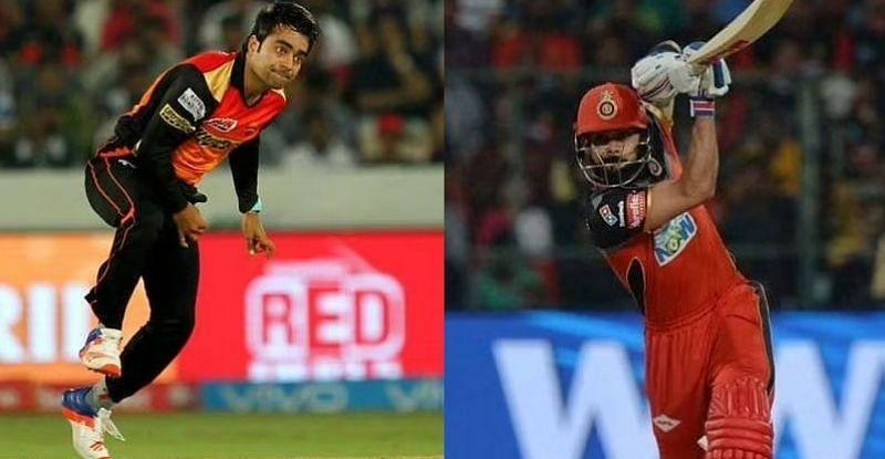 Rashid Khan and Virat Kohli. Pic: IPLT20.COM