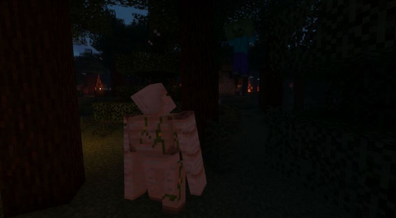 Shown: A Golem knocking a Zombie up into the sky (Image via Minecraft)
