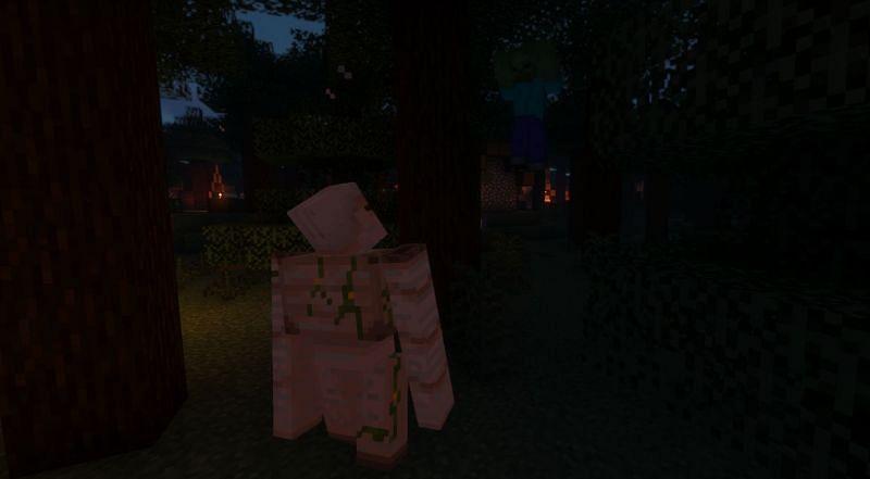 Shown: A Golem knocking a Zombie up into the sky (Image via Minecraft)