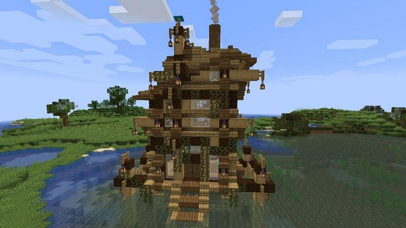 Vines decorating a Minecraft base (Image via tutorialstops.blogspot.com)