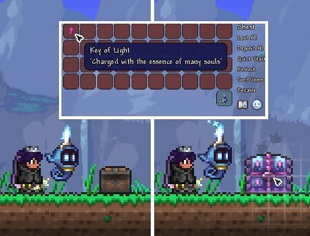 The Key of Light is an item which will summon a Hallowed Mimic. It can be crafted at a Workbench with 15 Souls of Light and effectively works as the Hallowed Mimic's boss summon item.