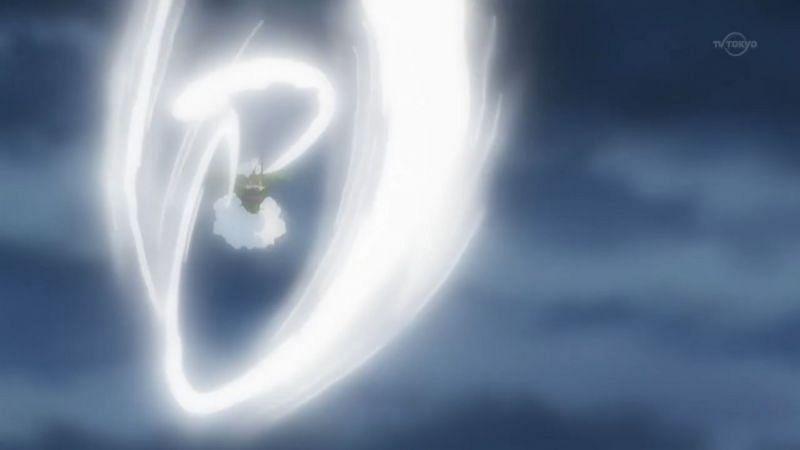 A Pokemon using Hurricane in the anime (Image via The Pokemon Company)