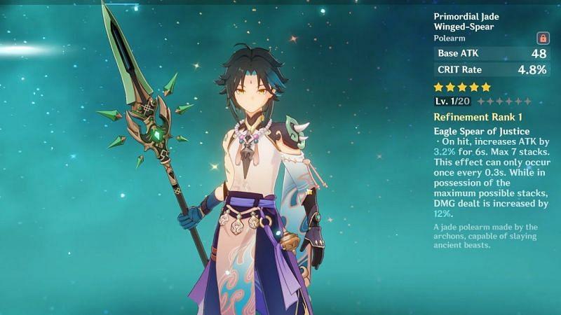 Primordial Jade winged-spear in Genshin Impact (Image via Genshin Ruffix)