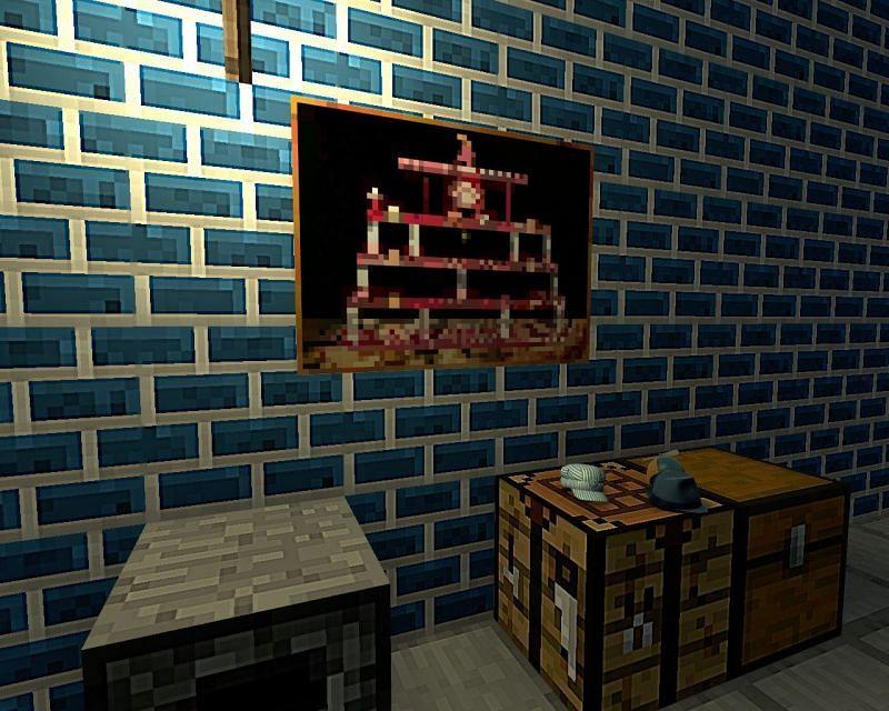 Minecraft painting on blue wall (Image via tf2.gamebanana.com)