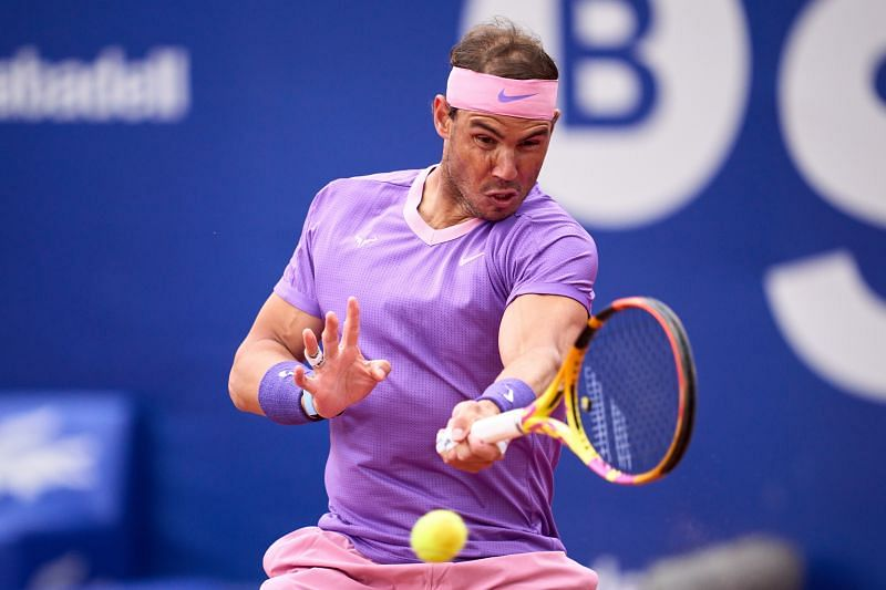 Rafael Nadal hits a forehand