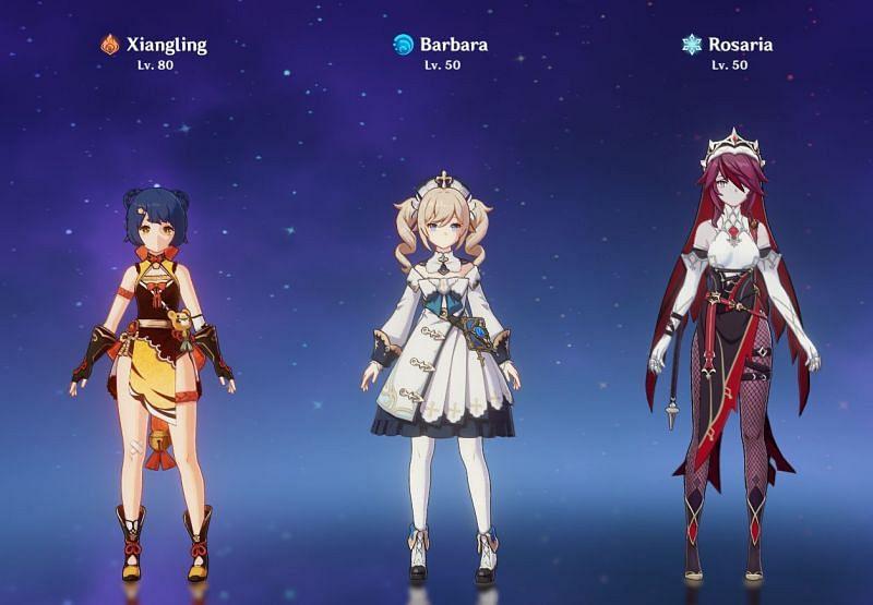 Xiangling, Barbara, and Rosaria (Image via Genshin Impact)