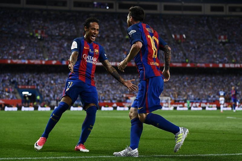 Neymar (left) and Lionel Messi during their time together at Barcelona