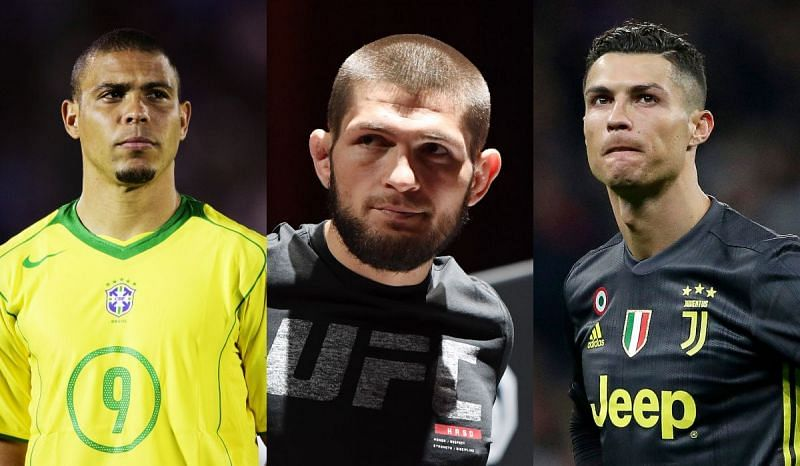 Ronaldo Nazario (left), Khabib Nurmagomedov (center), Cristiano Ronaldo (right)