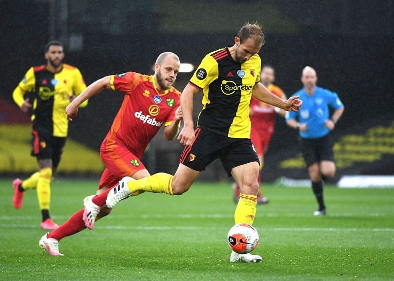 Norwich City take on Watford at the Carrow Road Stadium on Tuesday