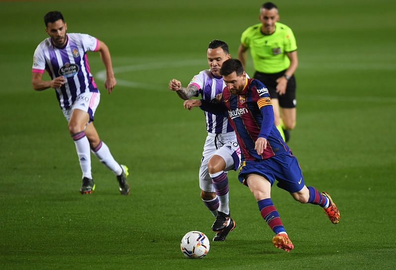Lionel Messi in action during FC Barcelona v Real Valladolid CF fixture on Monday night