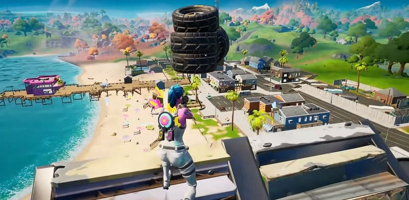 Floating tire glitch in Fortnite Season 6 (Image via Glitch King - YouTube and Epic Games)