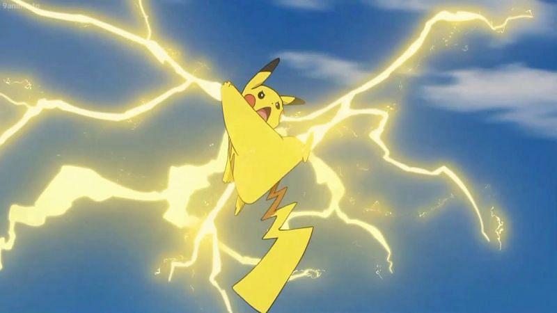 A Pokemon using Thunderbolt in the anime (Image via The Pokemon Company)