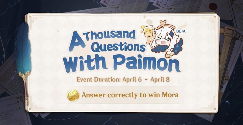 "A Thousand Questions with Paimon"" quiz event in Genshin Impact (Image via Genshin Impact)"