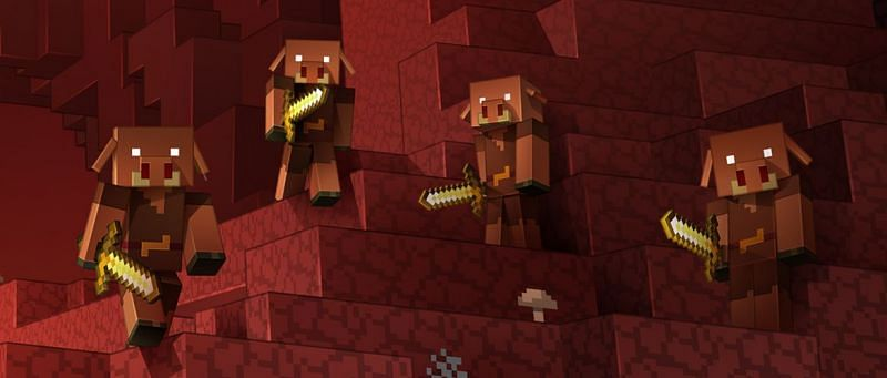 A herd of Piglins (Image via Minecraft web)
