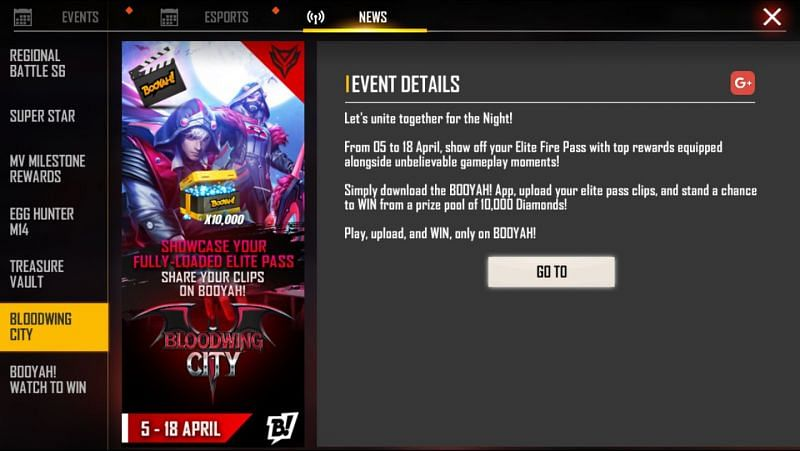 Bloodwing City event in Free Fire