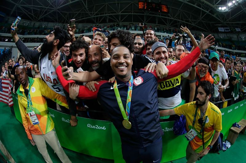 Gold medalist Carmelo Anthony of the United States