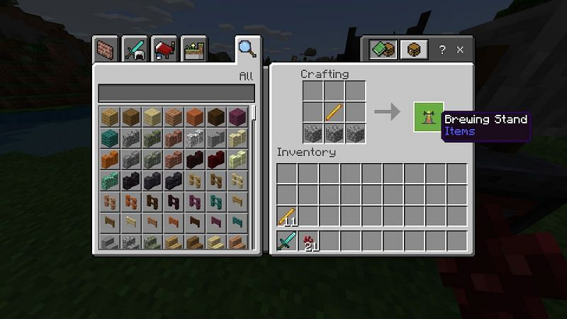 Start by making a brewing stand by combining three pieces of cobblestone and a blaze rod in a crafting table.