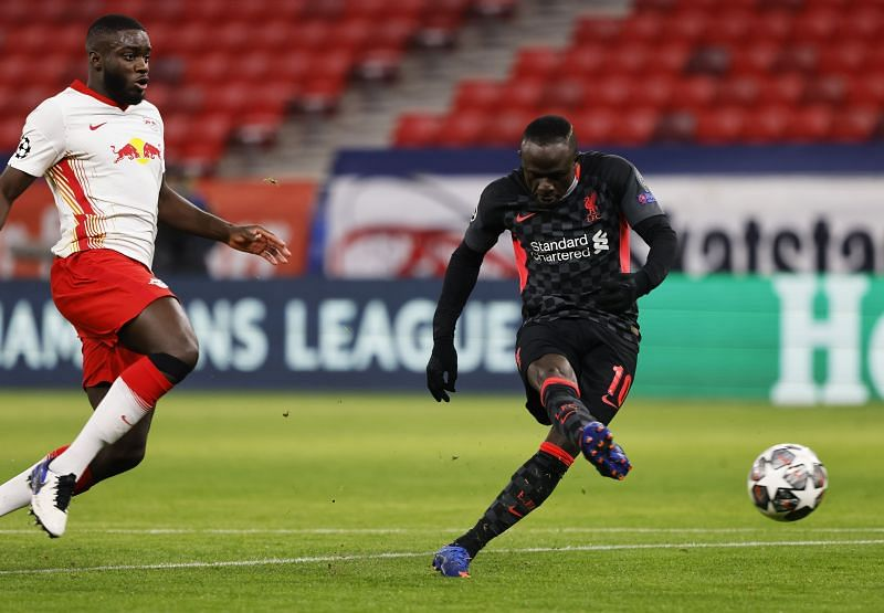 Sadio Mane of Liverpool scores their side