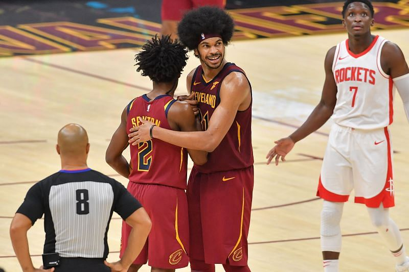 Collin Sexton #2 and Jarrett Allen #31 celebrate during the final seconds of a game