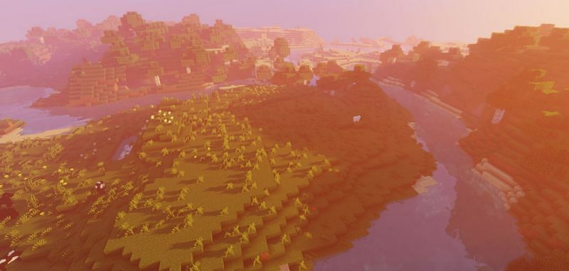 The spawn of seed 120 has a desert village in the distance (Image via Minecraft)
