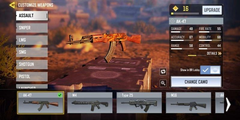 AK-47 with in-game stats (Image via Activision)