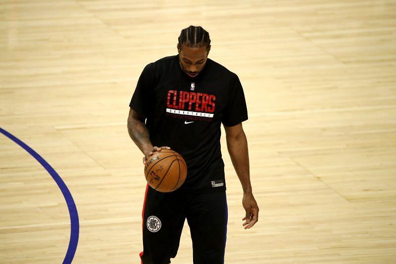 Kawhi Leonard in LA Clippers training gear.