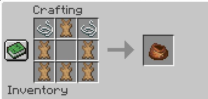 Shown: The crafting recipe for a bundle (Image via Minecraft)