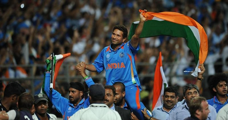 Sachin Tendulkar celebrates with the team after winning the 2011 World Cup
